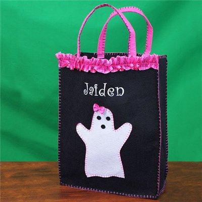 Ghost Trick or Treat Bag | Embroidered Ghost Trick or Treat Bag