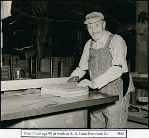 Fred Fluhr, Age 99, At Work At A. A. Laun Furniture, Kiel, Wisconsin, 1941.  Source: Edwin Majkrzak Historical Research Center At Kiel Public Library ...