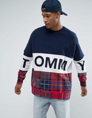 6b2b274e179a Tommy Hilfiger Denim Oversized Sweatshirt Tommy Plaid Mix in Navy ...