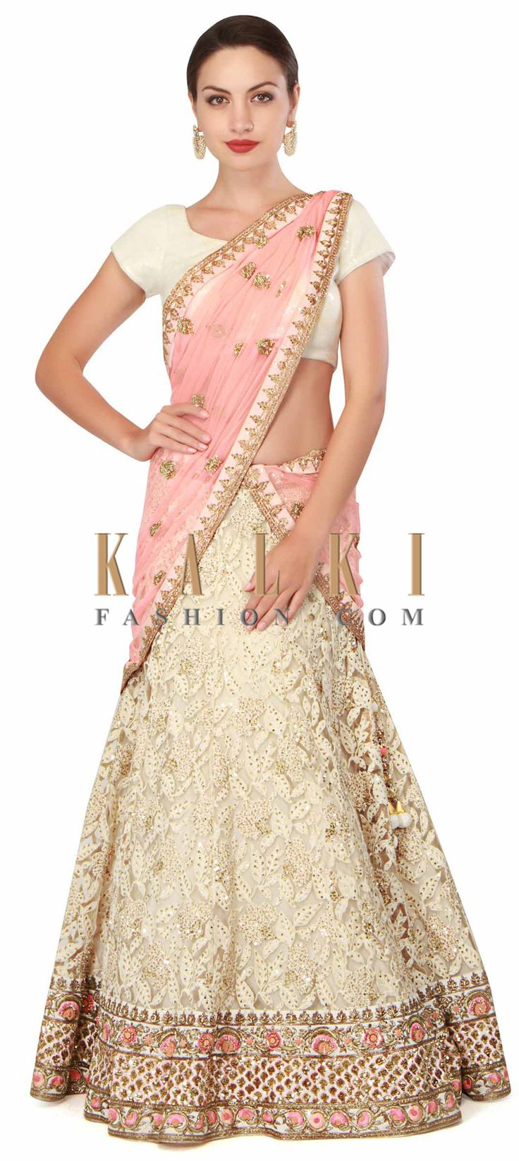 Buy Now Off white lehenga adorn in thread and sequin only on Kalki