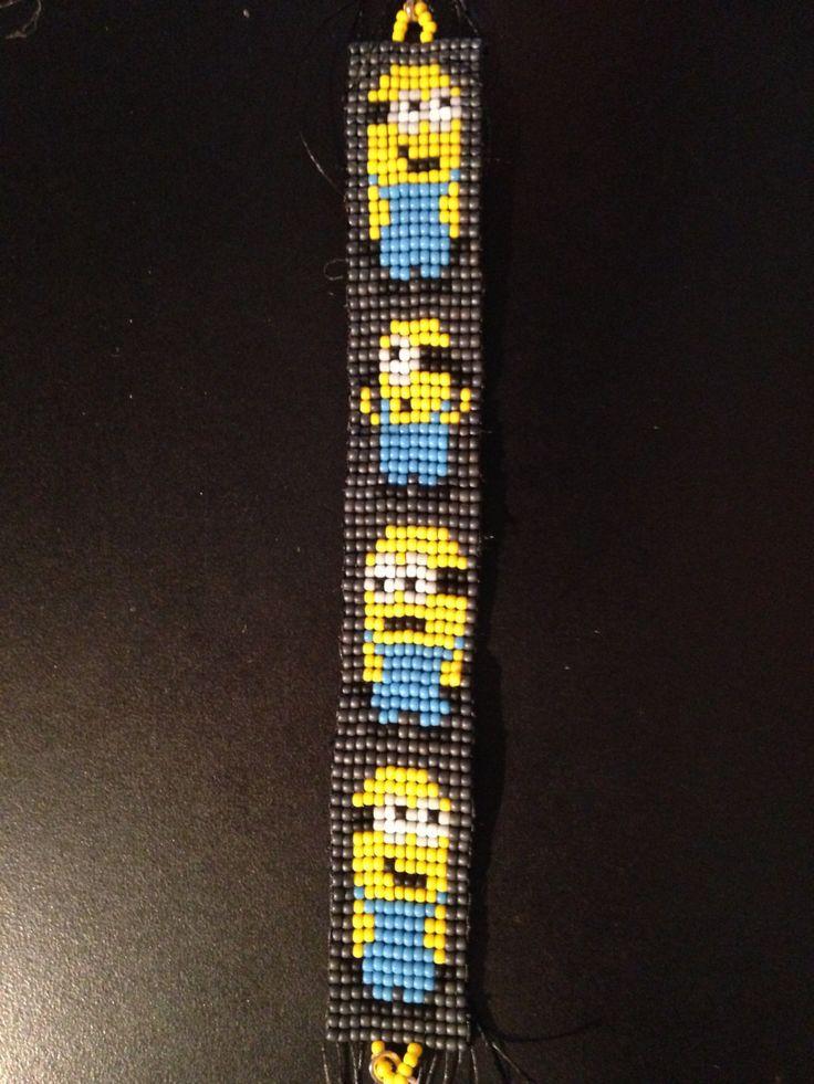 Minions seed bead bracelet beaded bracelet beaded jewelery loom bracelet Despicable Me Minion by BeadedPinktopia on Etsy