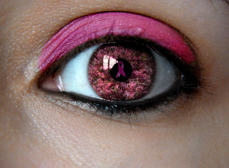 breast cancer awareness - Ilove love love everything about thispic. I love her eye makeup,th color of her eye,and how the breast cancer ribbon is in there as well...