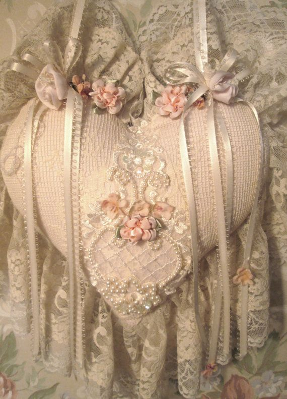 lace heart victorian shabby chic heart wedding by TheGirlyCottage