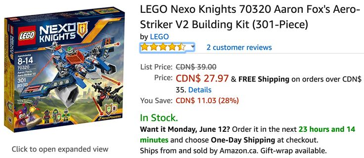 Amazon Canada Deals: Save 28% on LEGO Nexo Knights 30% on Fridge Numbers Magnetic Set & 25% on Sandwich Play Fo... http://www.lavahotdeals.com/ca/cheap/amazon-canada-deals-save-28-lego-nexo-knights/210801?utm_source=pinterest&utm_medium=rss&utm_campaign=at_lavahotdeals