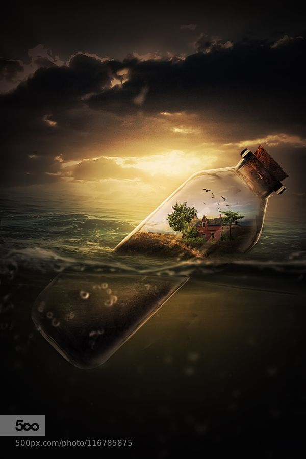 House in a bottle - Pinned by Mak Khalaf Fine Art artcloudsdarkfine artlightsunsetsurrealwater by ErwynArdyan