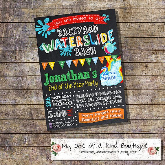 Waterslide Party Bash invitation end of the school year ...