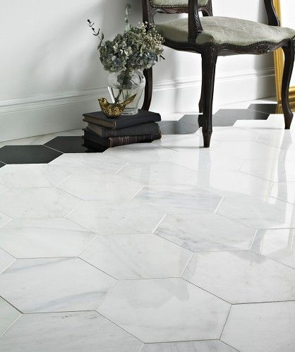 Misty Fjord Hexagon Polished Tile For The Bathroom Floor