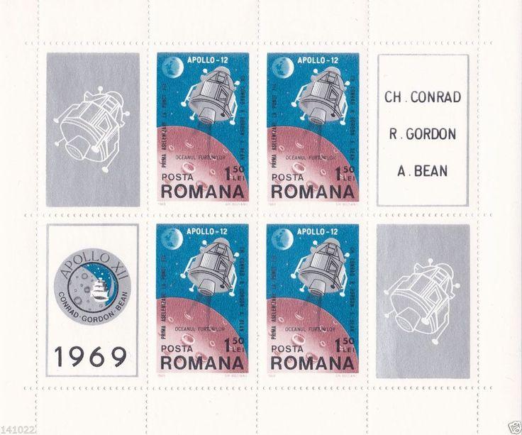 APOLLO 12,Block Romania 1969,catalogue Michel nr.74 (103x106mm),,NO RSV!