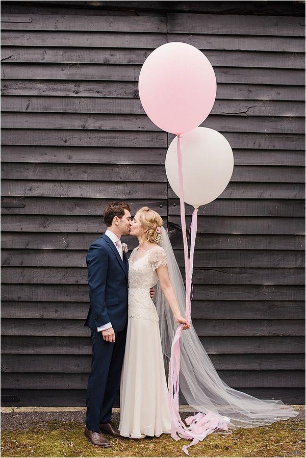 Beautiful bride Wears Jenny Packham. Pink Wedding Balloons. Vintage Barn Wedding with Afternoon Tea. Faye Cornhill Photography - Fine Art Film and Digital Wedding Photographer - London, UK and Destination Weddings.