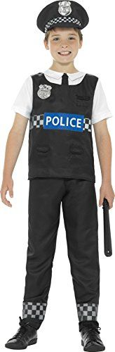 From 6.25 Smiffys Cop Boys Fancy Dress Policeman Officer Uniform Occupation Kids Childrens Costume Small (4 - 6 Years)