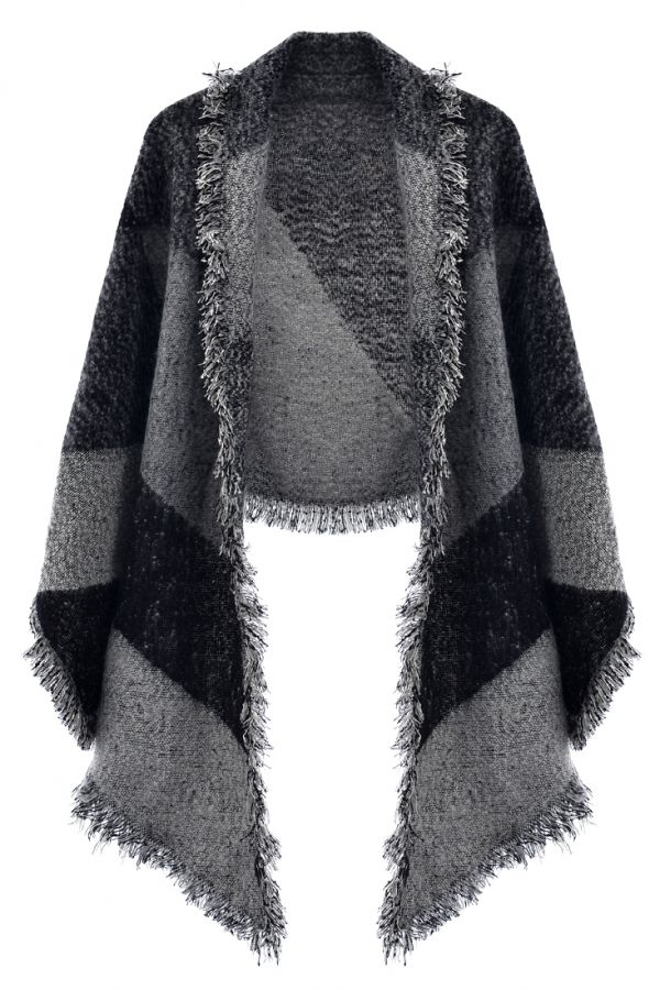 Wide Stripe Grey Woman #Scarf Shawl #Cape - OASAP.com ★ FREE SHIPPING + 70% OFF for Thanksgiving Day!