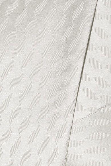 Maison Margiela - Satin-jacquard Wrap Maxi Dress - Silver - IT44