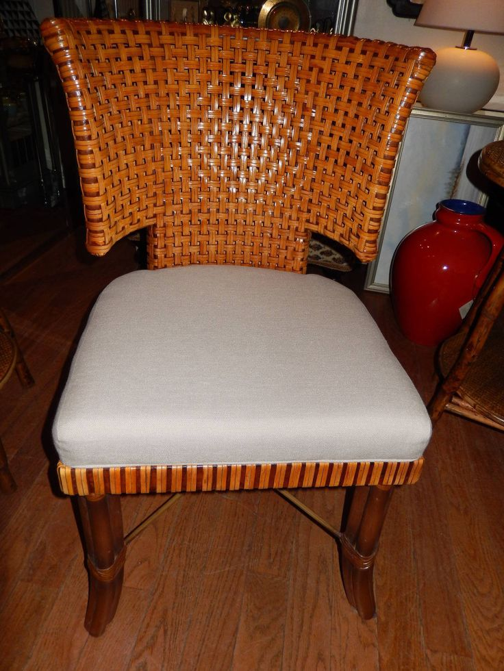 Eight Handwoven Leather Dining Room Chairs