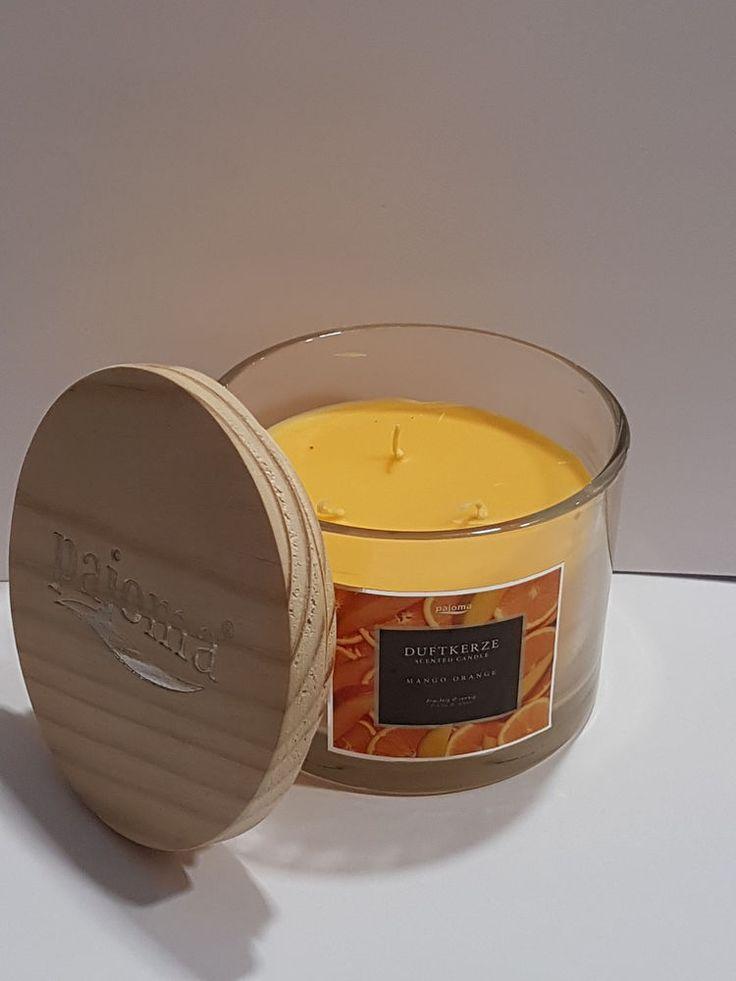 Duftkerze / Kerze im Glas Mango Orange 3 Docht Pajoma Holzdeckel Scented candle