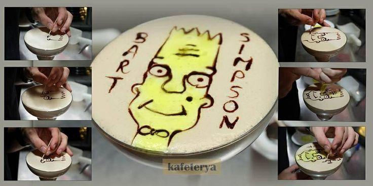 Latte art bart simpson