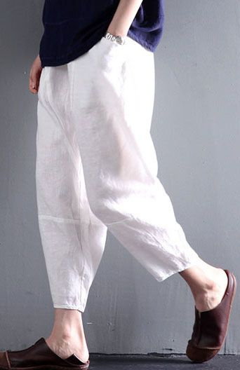 Loose summer linen pants plus size in white