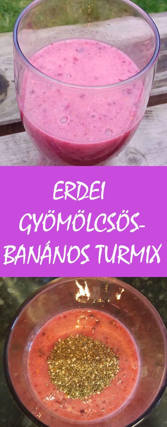 Erdei gyümölcsös-banános turmix extrákkal Összetevők:  kb. 1 dcl. fagyasztott bogyós gyümölcs (ribizli, málna, szeder, stb.) fél banán 1,5 dcl növényi tej az omega 3 pótlására egy csapott ek. darált lenmag édesítésre 1 kk. agave szirup és szintén ennek a pótlására, illetve az energia és rostok hosszú távú biztosítására, 1 csapott ek. chia mag (a turmixolás után tesszük bele, majd hagyjuk állni legalább 30 percet)