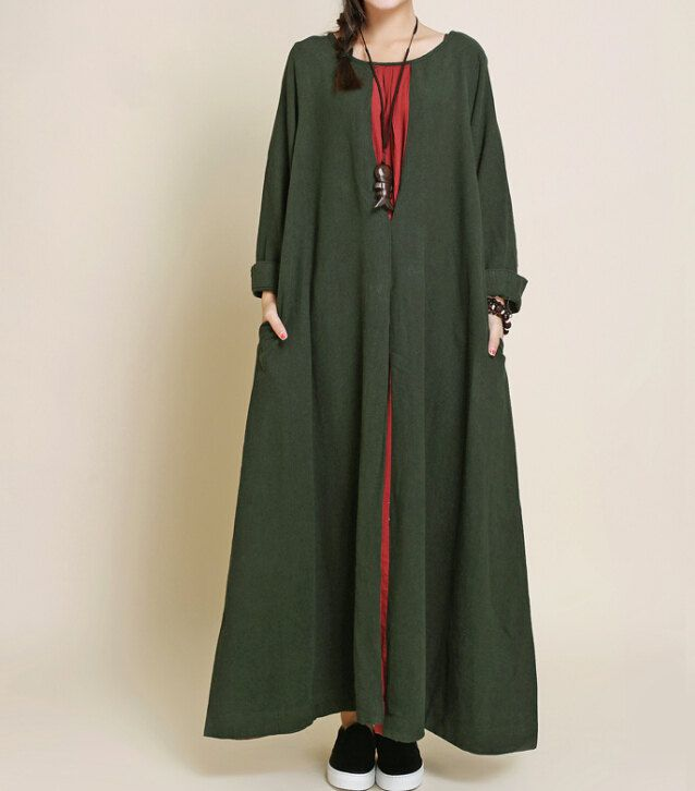 autumn Oversized loose maxi dress linen long sleeved by MaLieb