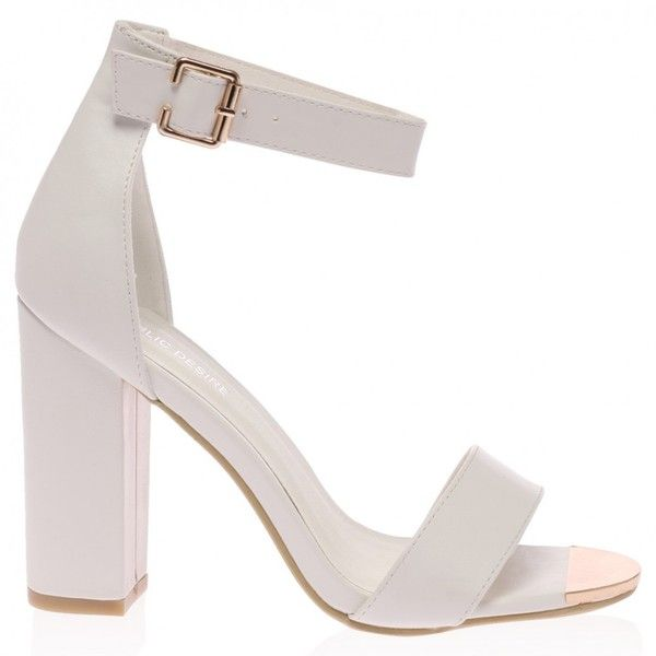 Aliya White Block Heeled Sandal (€34) ❤ liked on Polyvore featuring shoes, sandals, heels, ankle strap sandals, high heel shoes, white ankle strap sandals, white shoes and ankle wrap sandals