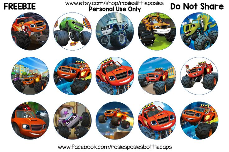 Click to save image at full size. Free bottle cap images. Freebie printable. Blaze and the Monster Machines