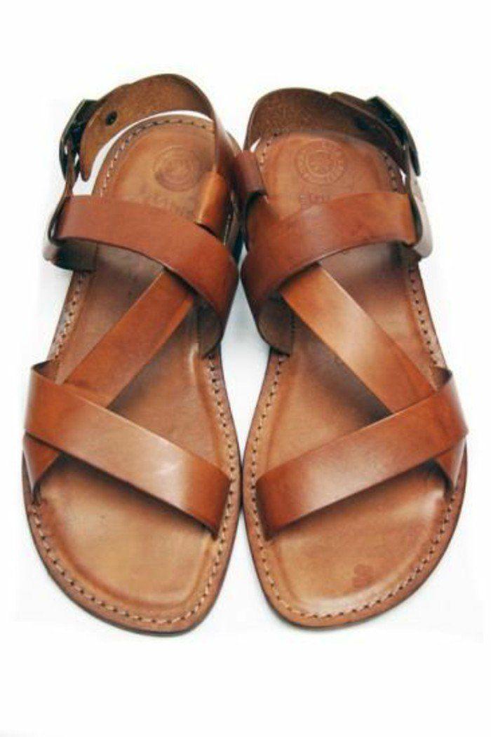 sandales pas cher femme en cuir naturel