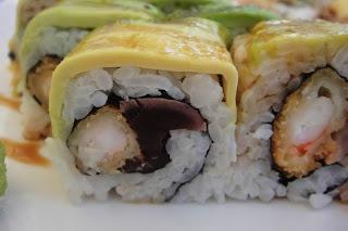 Samurai rolls from Sevruga- tempura prawns and tuna California rolls topped with avo