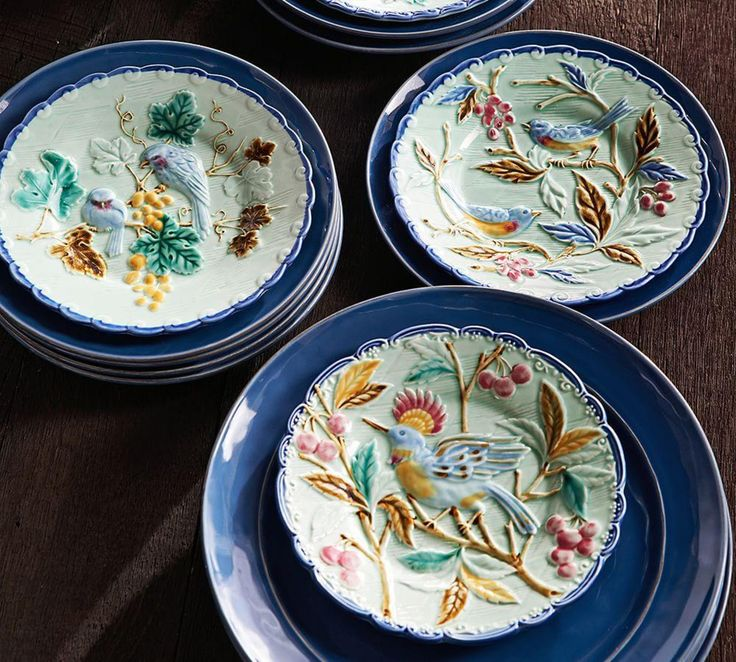 Majolica Salad Plates, Set of 4