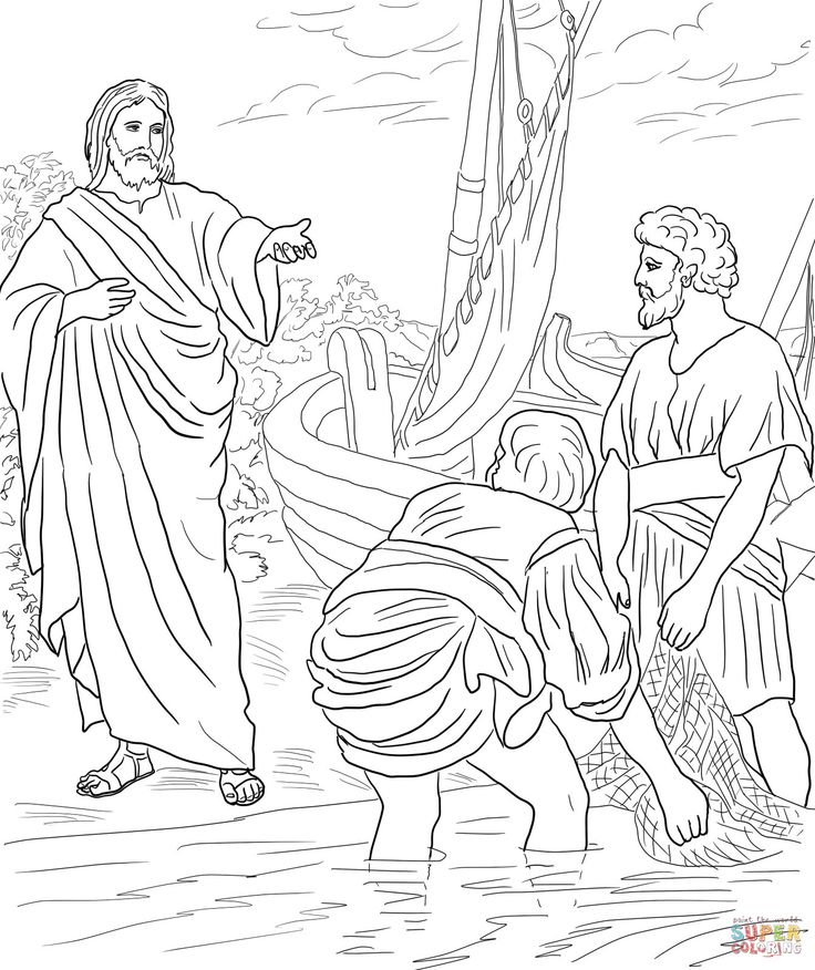 jesus calls his disciples coloring page