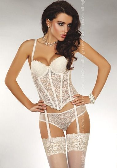Livco Corsetti Fashion Madhavi Corset LC 16088 Corset comes in wire support in white creamy tone body with guipure in spiral work, grabbin your shape in hook closure at back, adjsutable shoulder straps plus sexy lace lining in gorgeous hem finish.