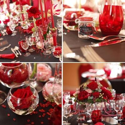 ... de mariages rouges, Centres de tables de mariage rouges et Fleurs de