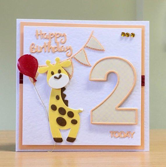 2nd Birthday Card Second Birthday Card Cute Teddybear Card For 2nd Birthday Cute Kids Card Cute Age 2 Birthday Card Handmade Card Handmade Birthday Cards Cricut Birthday Cards Kids Cards