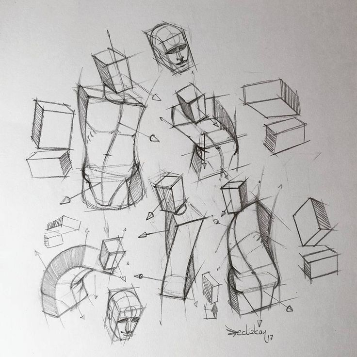 "16.6k Likes, 58 Comments - FERHAT EDİZKAN (@edizkan) on Instagram: ""Sketches from imagination - drawing figure using boxes #anatomy #study #illustration #drawing…"""