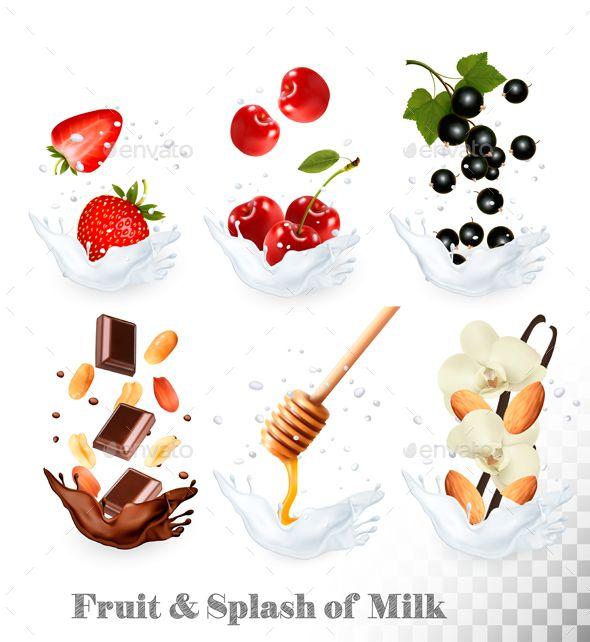 Set of Berries in Milk Splashes