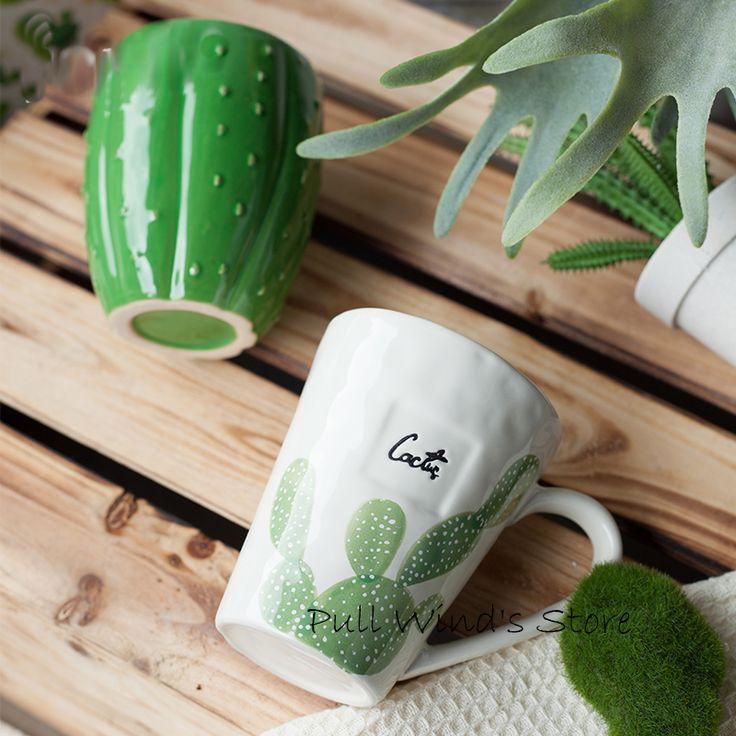 Краткий Искусство Кактус Керамическая Чашка Изысканный стиль пастырской керамическая кружка Растительный узор чашки купить на AliExpress