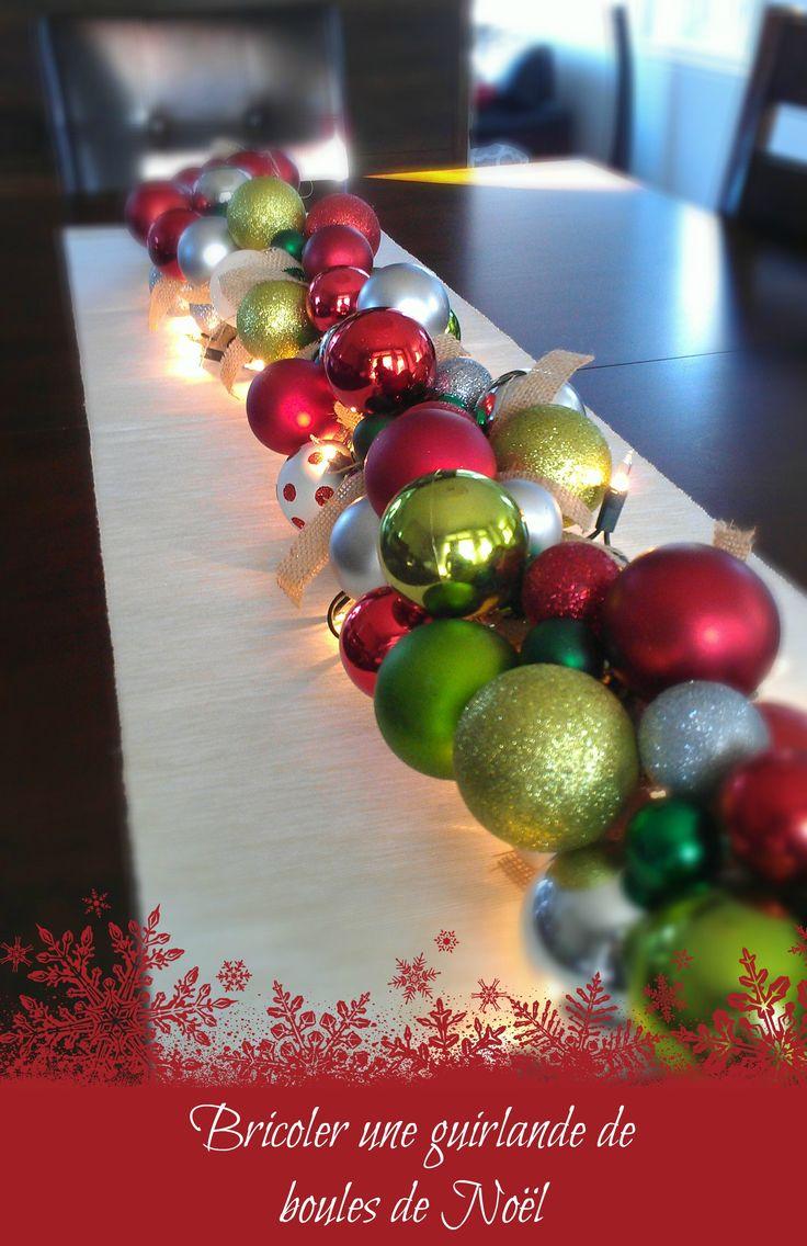 """C'est bientôt Noël et la joie des fêtes me donne une envie folle de bricoler... :) La semaine dernière, je suis allée faire quelques magasins et j'ai vu une belle guirlande de boules de Noël à vendre...à un prix exorbitant! Je me suis dit: """"Ça se bricole une belle guirlande de boules de Noël comme"""