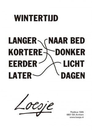 Wintertijd; langer; naar bed; kortere; donker; eerder licht; later; dagen