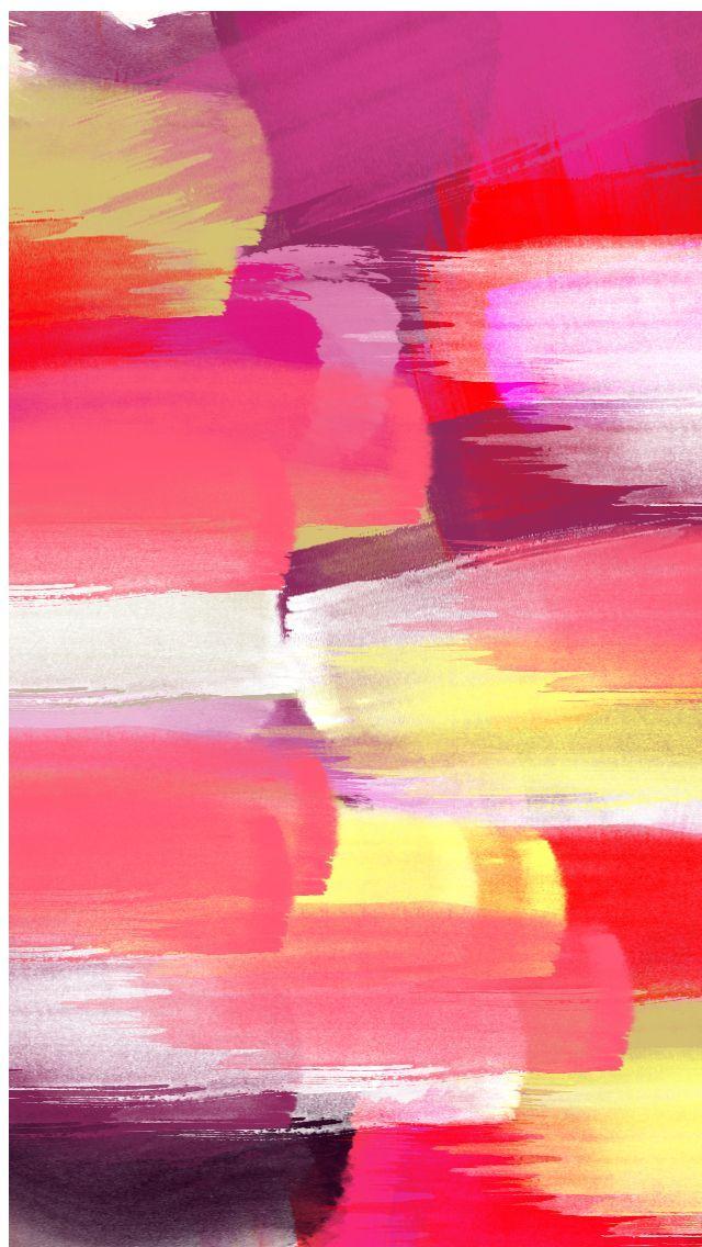 Pink red yellow brush strokes paint iphone background wallpaper phone lockscreen