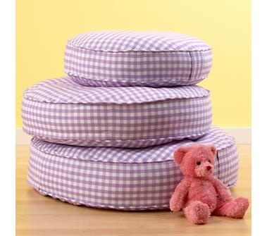 lavender gingham floor pillows... fun for all the floor space! $29-$49 ea