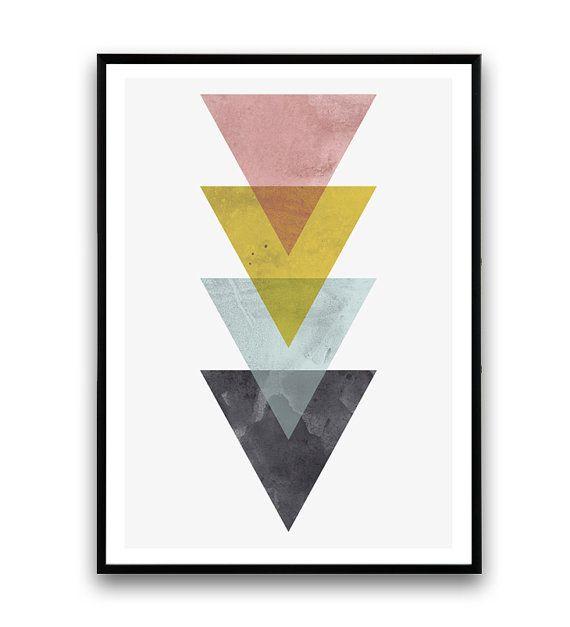 Aquarel muur afdrukken driehoeken print geel roze door Wallzilla