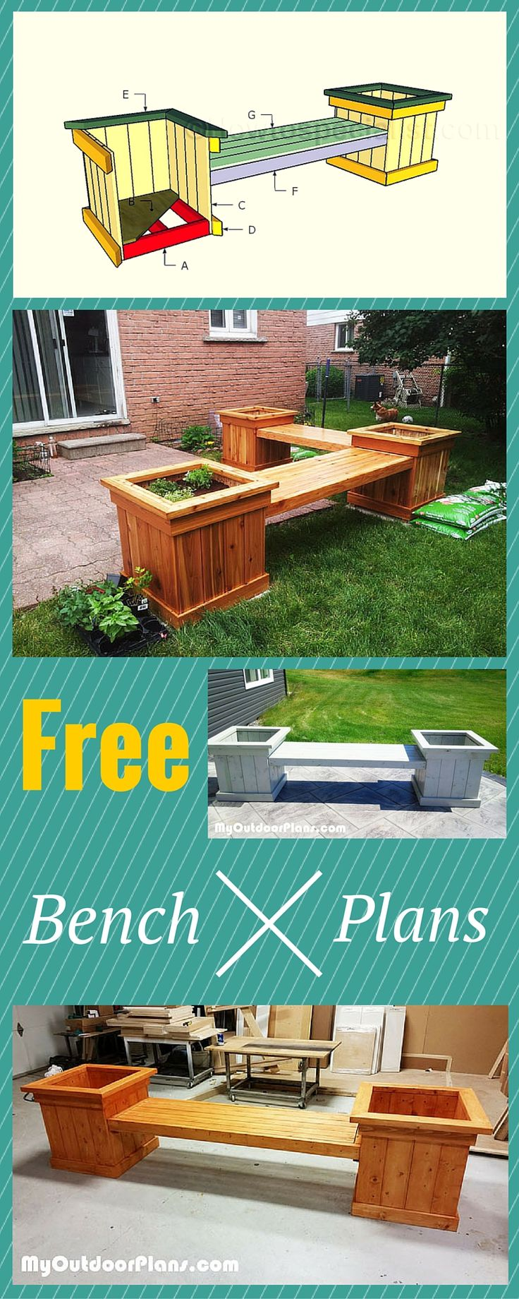 Planter bench plans – Easy to follow tips, tricks and ideal to help you build an outdoor bench with charm! Free plans at www.myoutdoorplan… #diy #be…