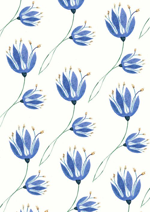 kateyjean:  Bluebells on a Blue Sunday : A little pattern I put together whilst ferociously work avoiding on my larger picture earlier today.