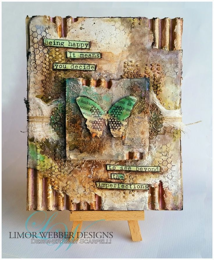 Being Happy Mixed Media Canvas | Limor Webber Designs  -  Process steps