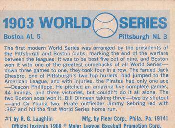 1970 Fleer World Series #1 1903 - Pirates vs. Red Sox - Deacon Phillippe Back