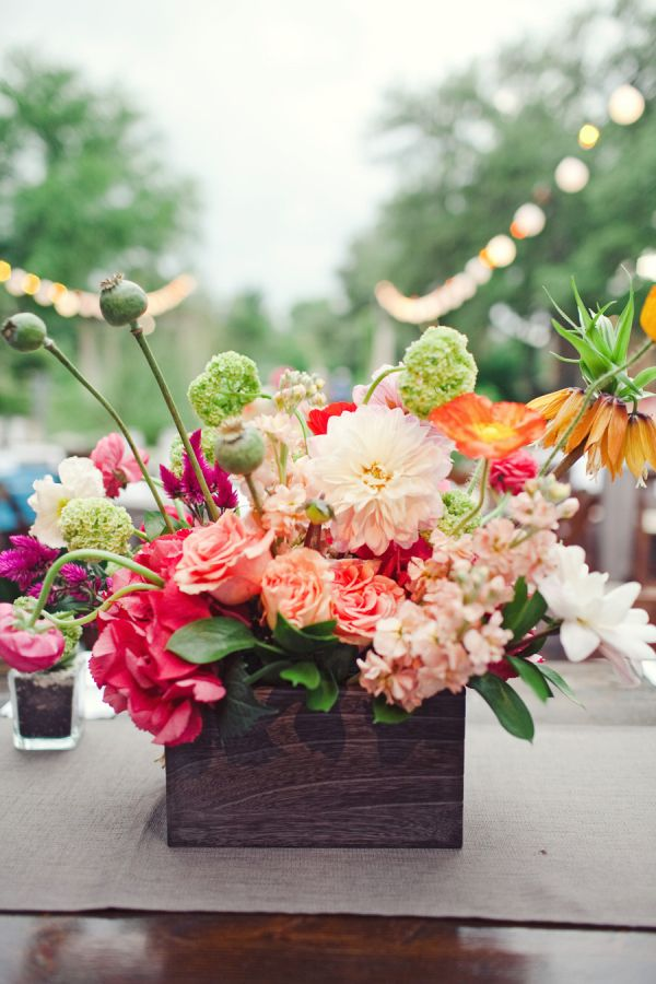 Elizabeth Anne Designs: Bold Flowers in Rustic Container