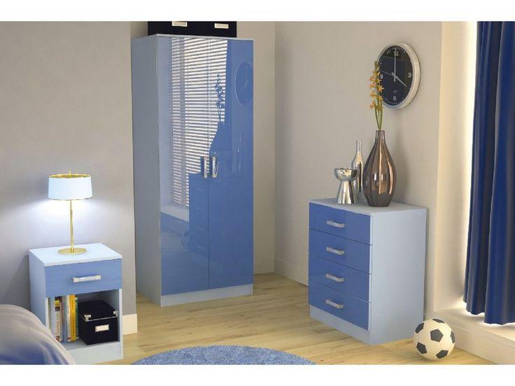 ottawa high gloss blue 3 piece boys bedroom furniture set