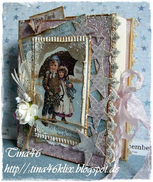 Book Card by LLC DT Member tina Klix, using papers and image from Maja Design's Vintage Frost Basics collection.