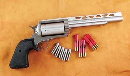 The Magnum Research BFR .45 Colt/.410 accepts five .45 Colt rounds or five…