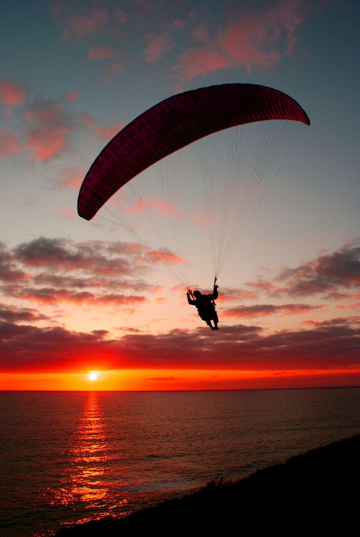 sunset paragliding by kloetpatra.deviantart.com on @DeviantArt