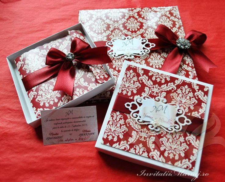 Invitatie nunta damask in cutie