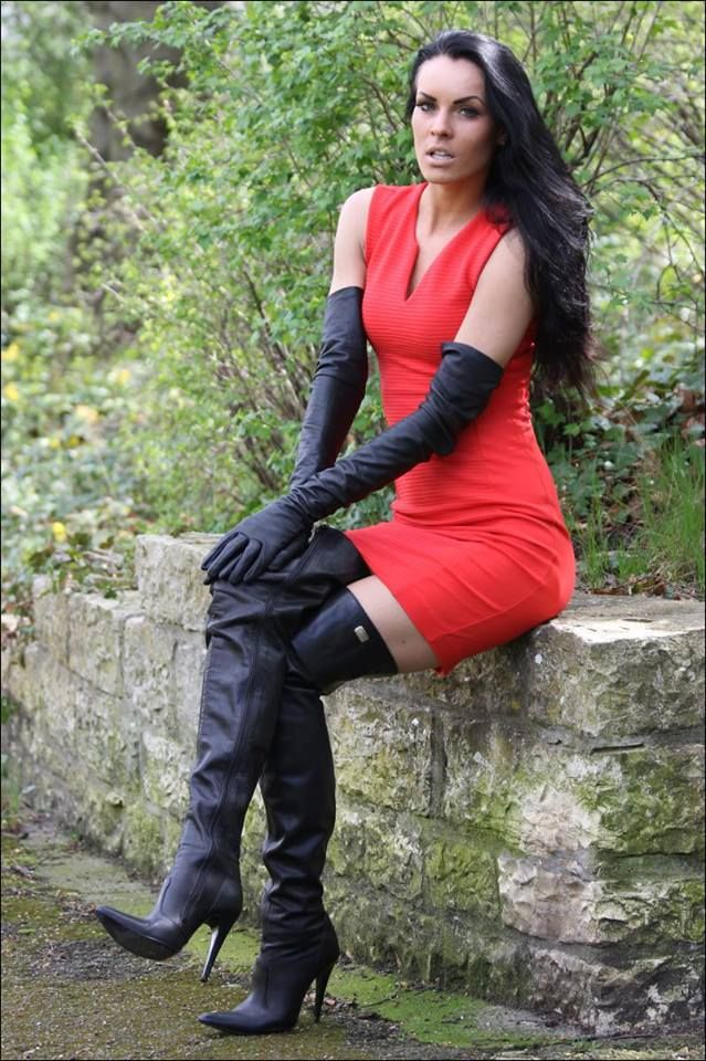 3c1131194f44e3 Black leather opera gloves and thigh boots with red tank minidress ...